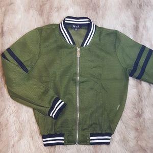Jackets & Blazers - Olive Mesh Bomber Jacket